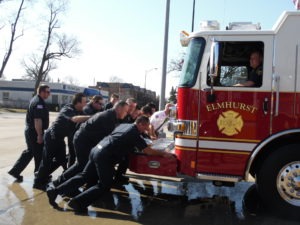 Fire Dept. holds 'Wet Down' ceremony, a tradition since the 1800s.   Dedication of Engine 1 takes place at north fire station