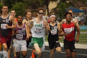 Kern Jr. second in the state in 800 for York boys track.   Dukes' 3,200 relay takes sixth