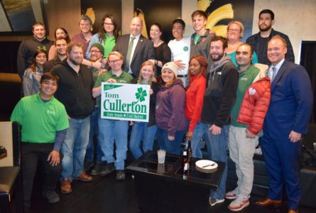 Cullerton Camp celebrates big finish It was a back-and-forth night, but at about 10:30 p.m., Republican Seth Lewis called to concede to Tom Cullerton (D), who was elected to his third term to represent the 23rd Senate District in Illinois. Here, Cullerton (top row center) with wife Stacey joins his volunteer organization to celebrate late on the evening of Tuesday, Nov. 6. Cullerton, who is a resident of Villa Park, beat Lewis 36,552 to 30,489, garnering almost 55% of the vote.