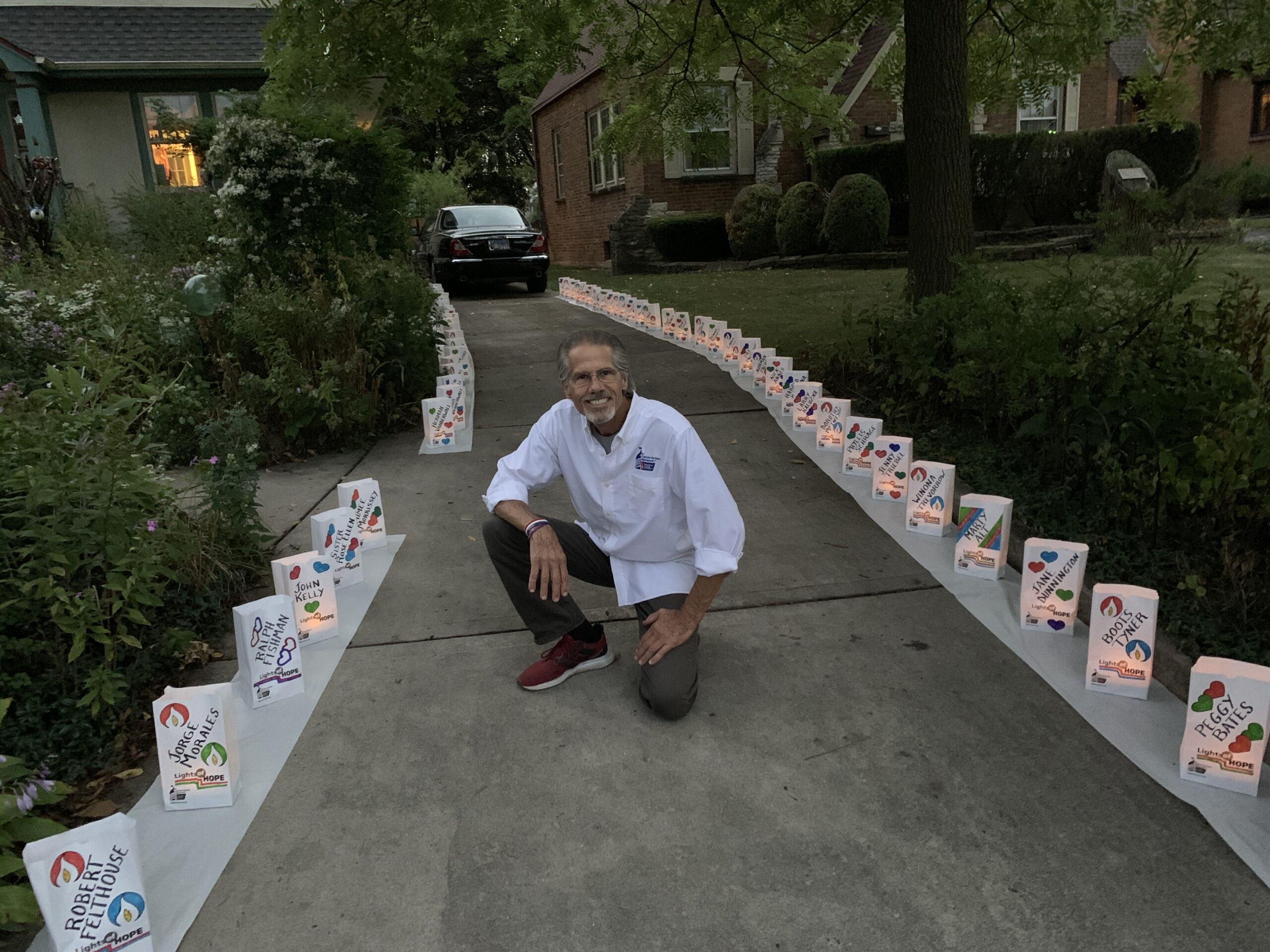 Elmhurst cancer survivor goes to Washington as advocate; Displays 100 luminaria as bagpiper Costello performs